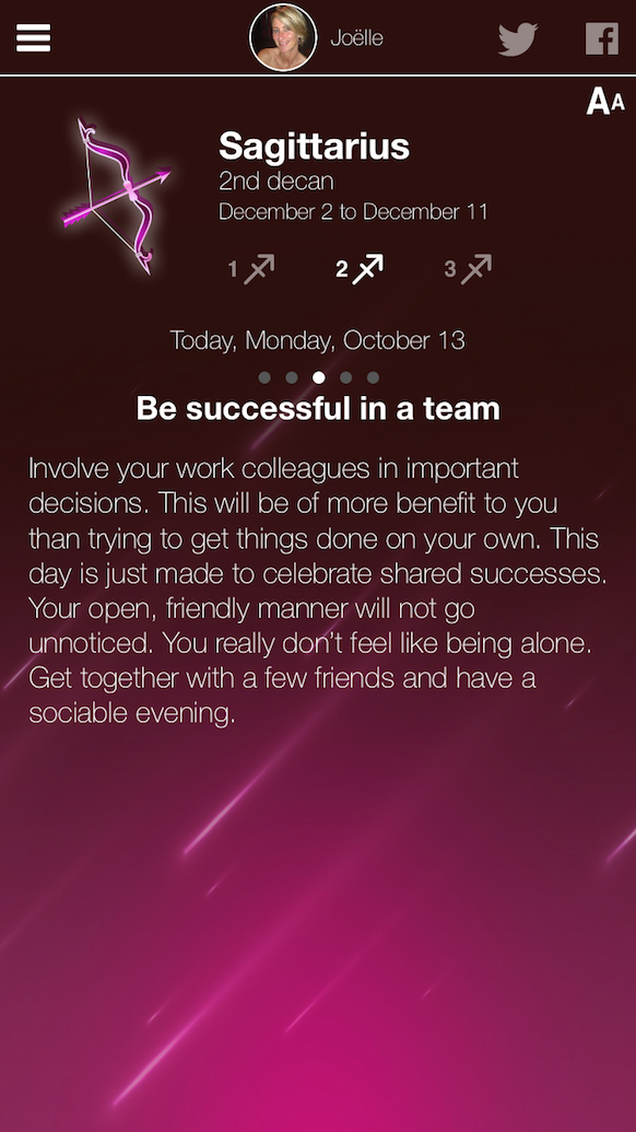 Fem Horoscope Screenshot woman view